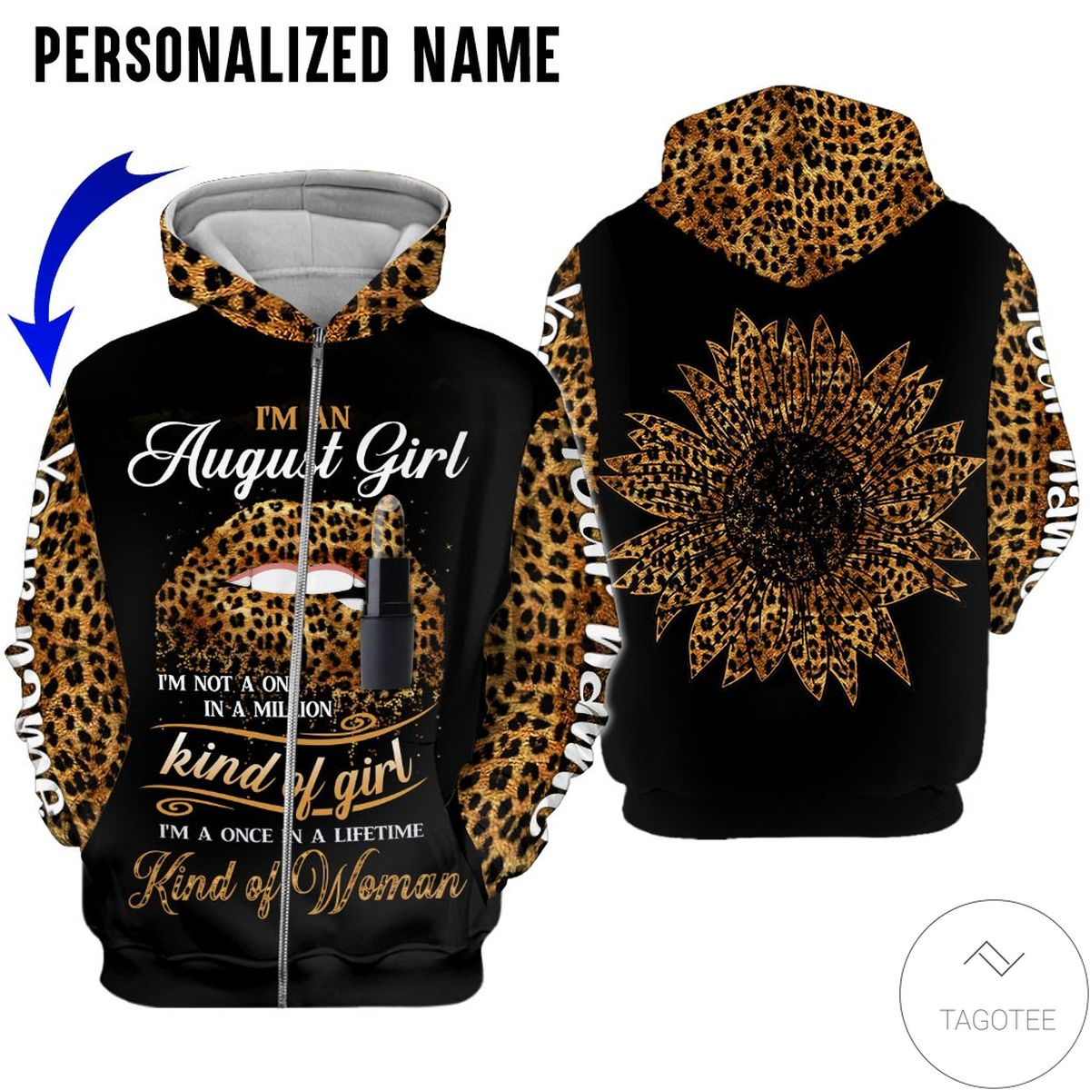 POD Personalized Name I'm August Girl Kind Of Girl All Over Print Hoodie