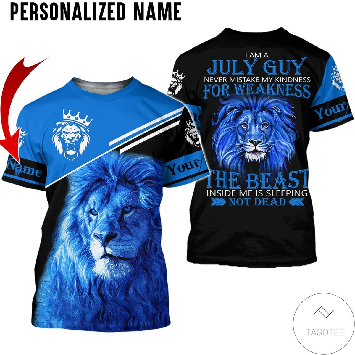 3D Personalized Name I'm July Guy The Beast Not Dead All Over Print Hoodie