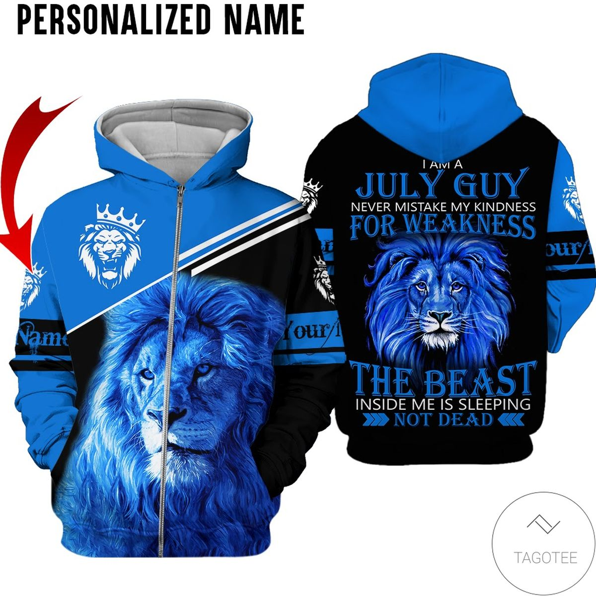 Personalized Name I'm July Guy The Beast Not Dead All Over Print Hoodiec