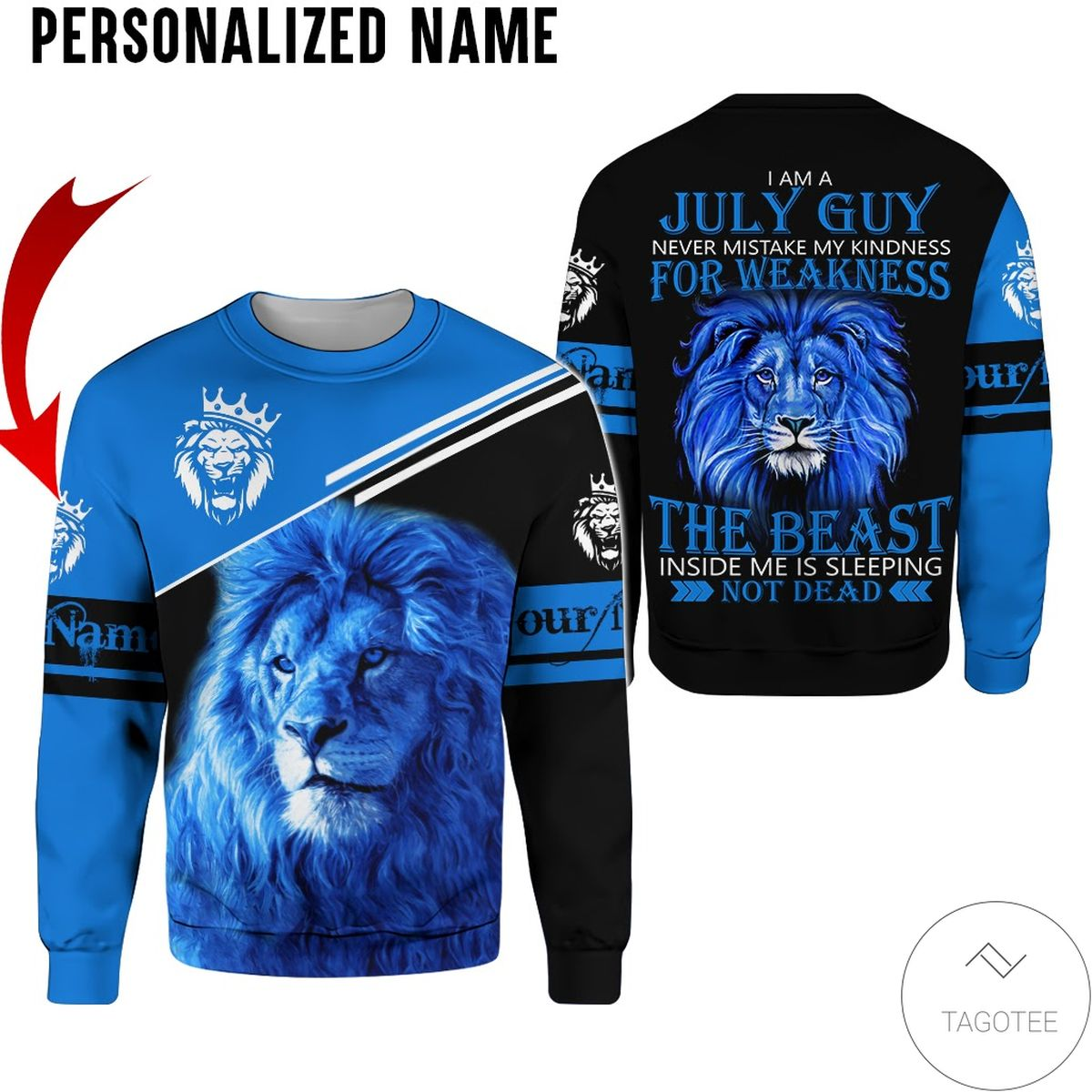 Personalized Name I'm July Guy The Beast Not Dead All Over Print Hoodie