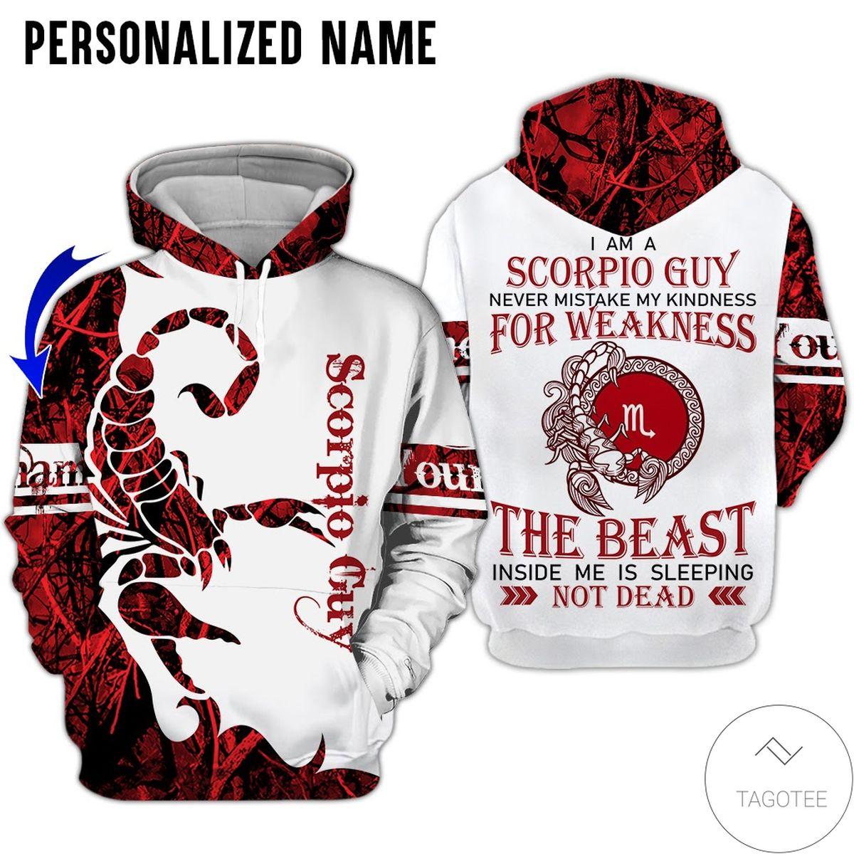 Ships From USA Personalized Name I'm Scorpio Guy Never Mistake All Over Print Hoodie