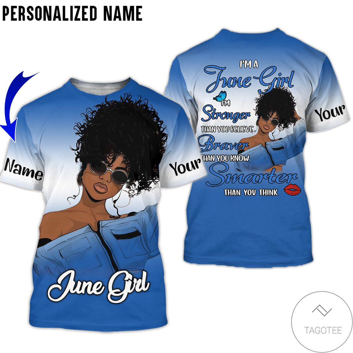 Personalized Name June Girl I'm Stronger Than You Believe All Over Print Hoodiez