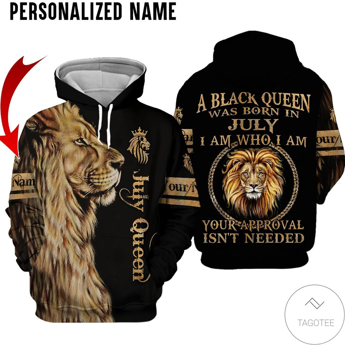 Amazing Personalized Name Lion A Black Queen Was Born In July All Over Print Hoodie