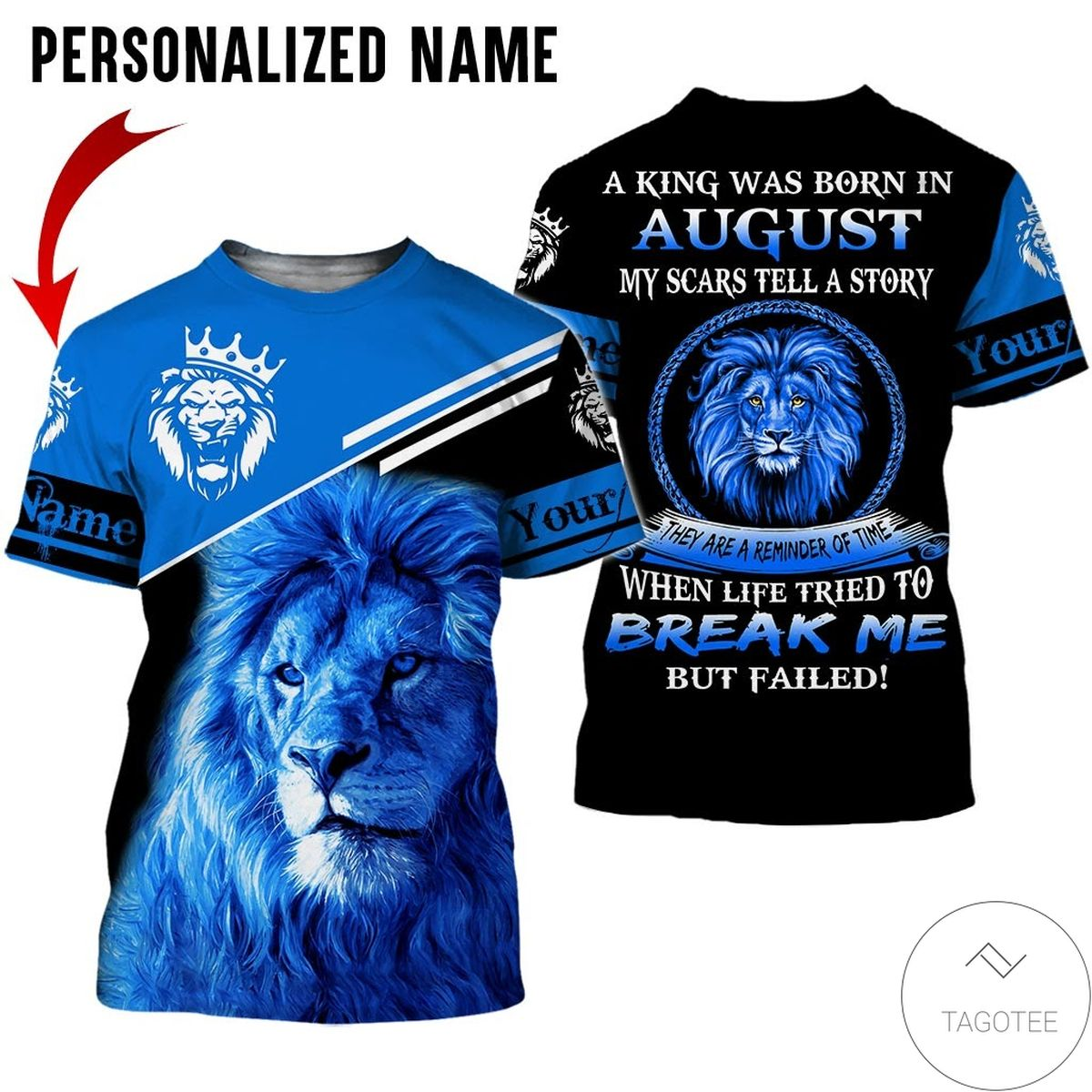 Personalized Name Lion A King Was Born In August All Over Print Hoodie