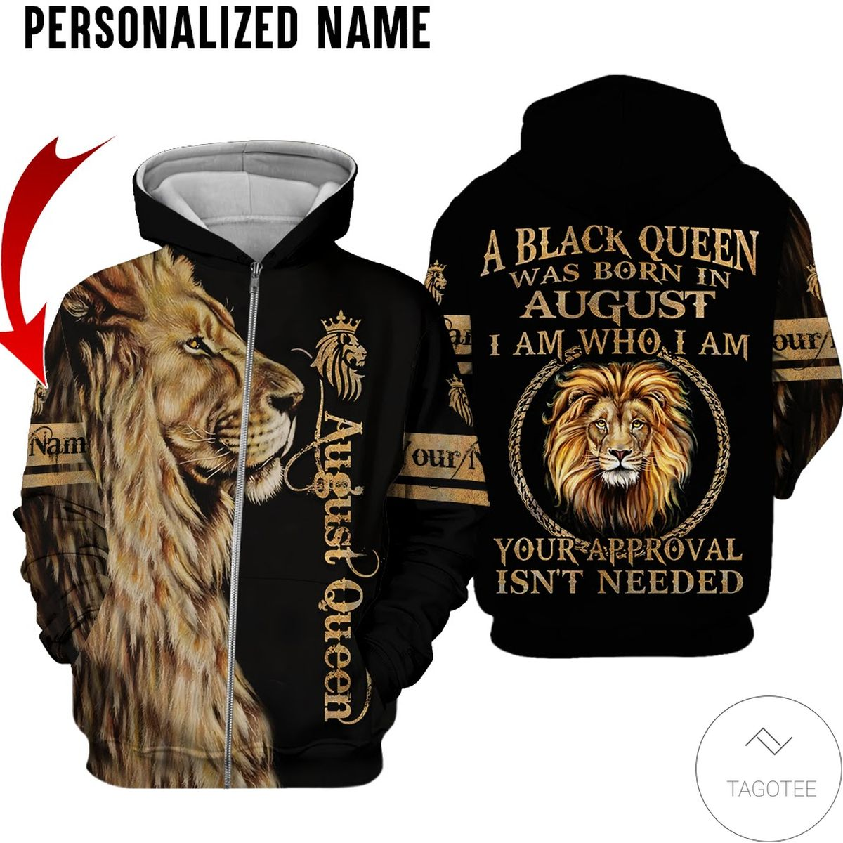 Ships From USA Personalized Name Lion August Girl A Black Queen Was Born All Over Print Hoodie