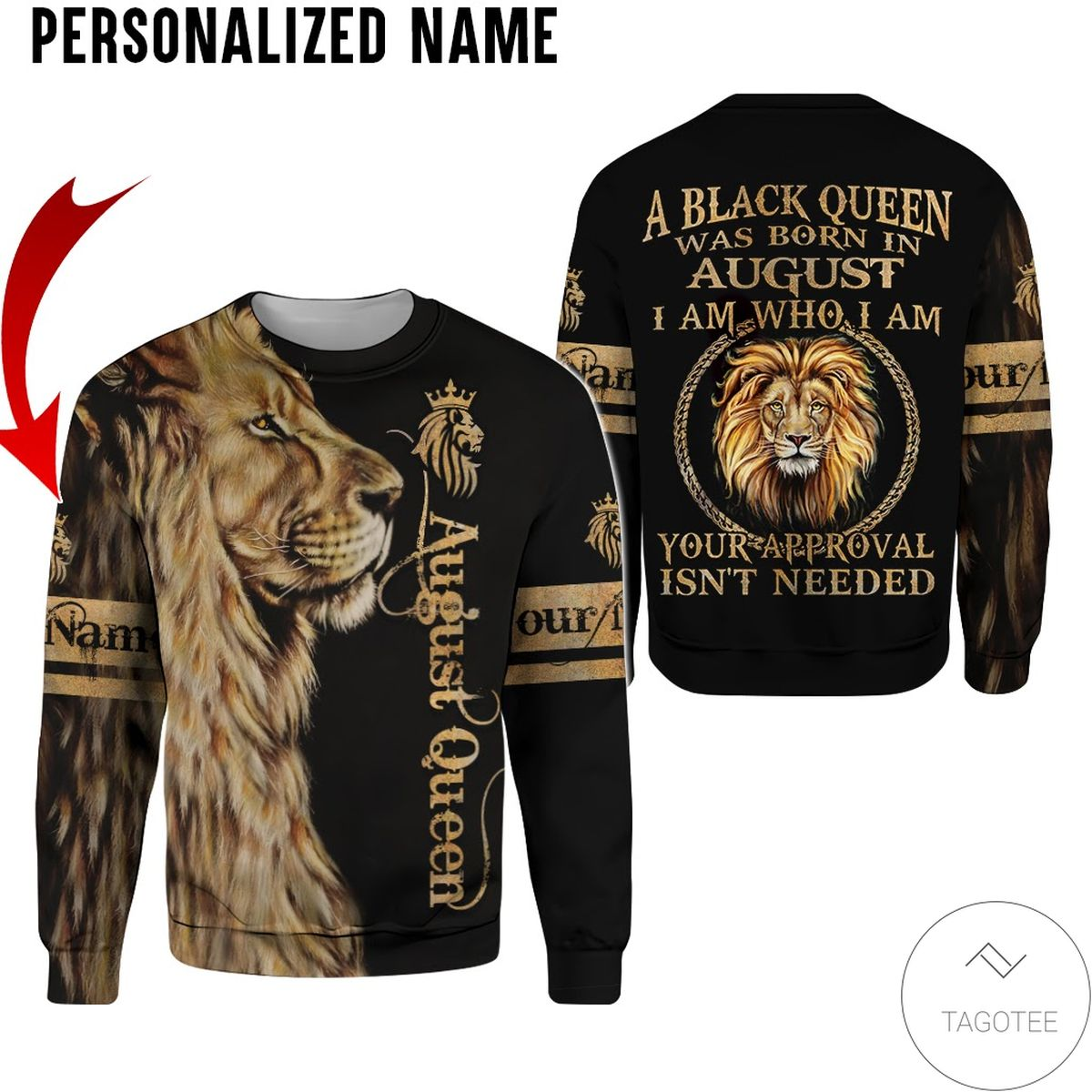 Best Personalized Name Lion August Girl A Black Queen Was Born All Over Print Hoodie