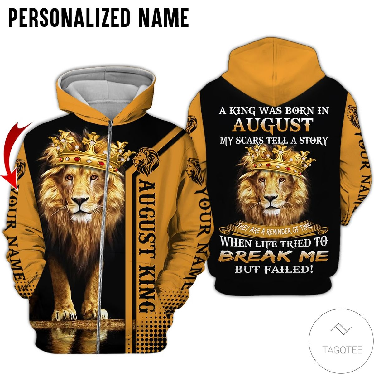 Real Personalized Name Lion August Guy A King Was Born All Over Print Hoodie