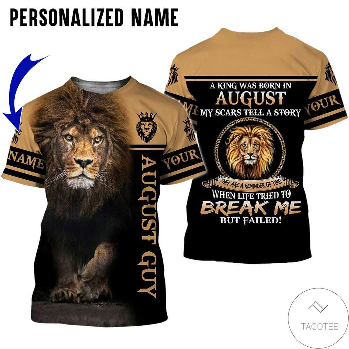 eBay Personalized Name Lion August Guy Life Tried To Break Me But Failed All Over Print Hoodie
