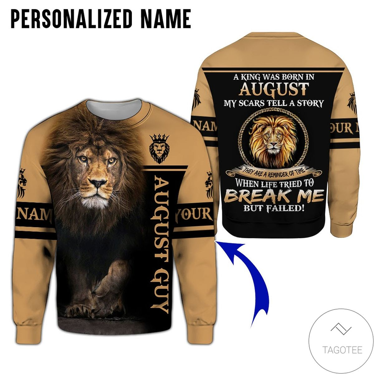 Awesome Personalized Name Lion August Guy Life Tried To Break Me But Failed All Over Print Hoodie