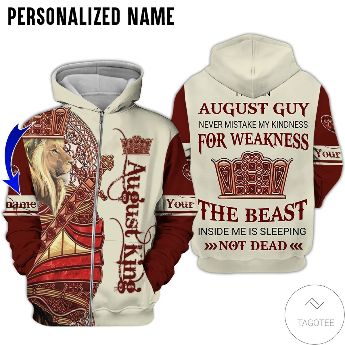 Adult Personalized Name Lion August King Never Mistake My Kindness For Weakness All Over Print Hoodie