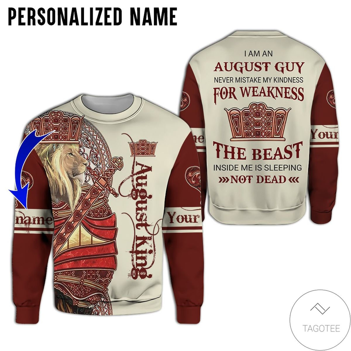 Fast Shipping Personalized Name Lion August King Never Mistake My Kindness For Weakness All Over Print Hoodie