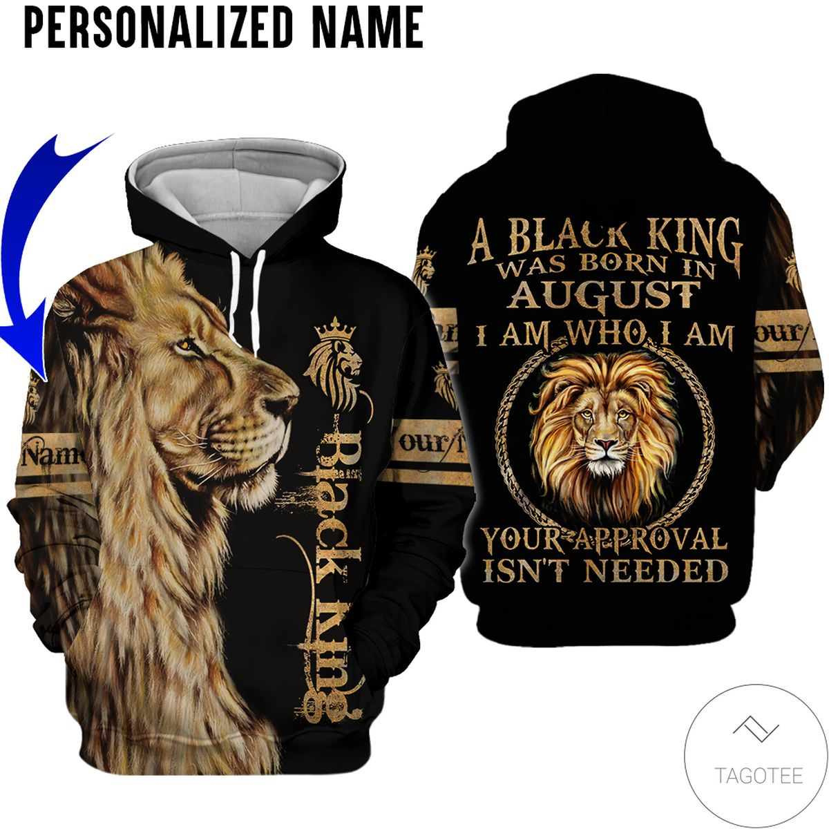 Personalized Name Lion Black King Was Born In August All Over Print Hoodie