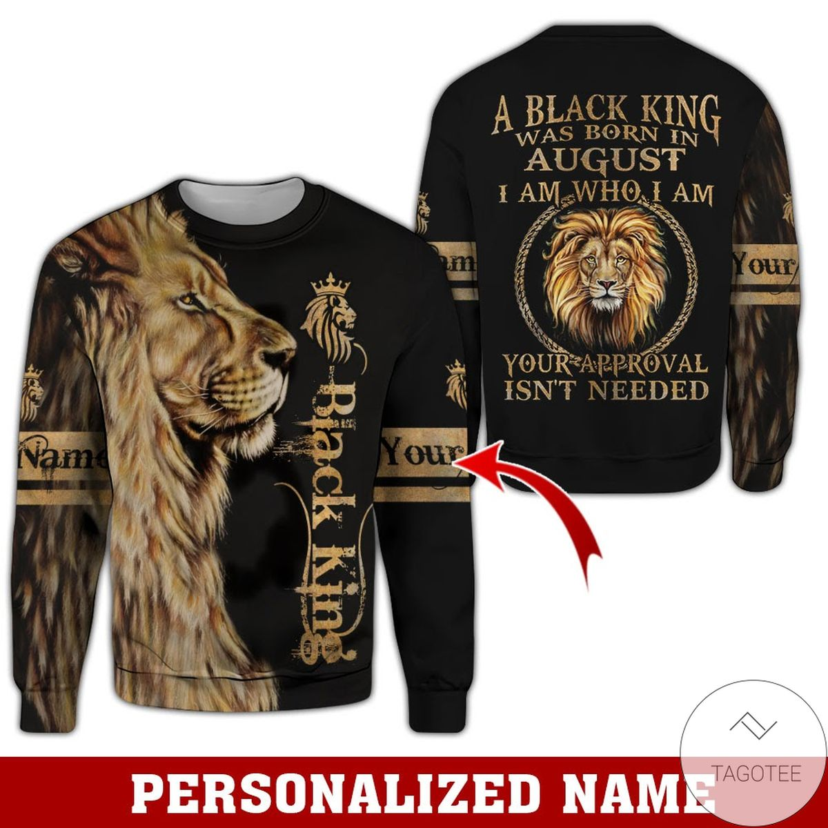 Discount Personalized Name Lion Black King Was Born In August All Over Print Hoodie