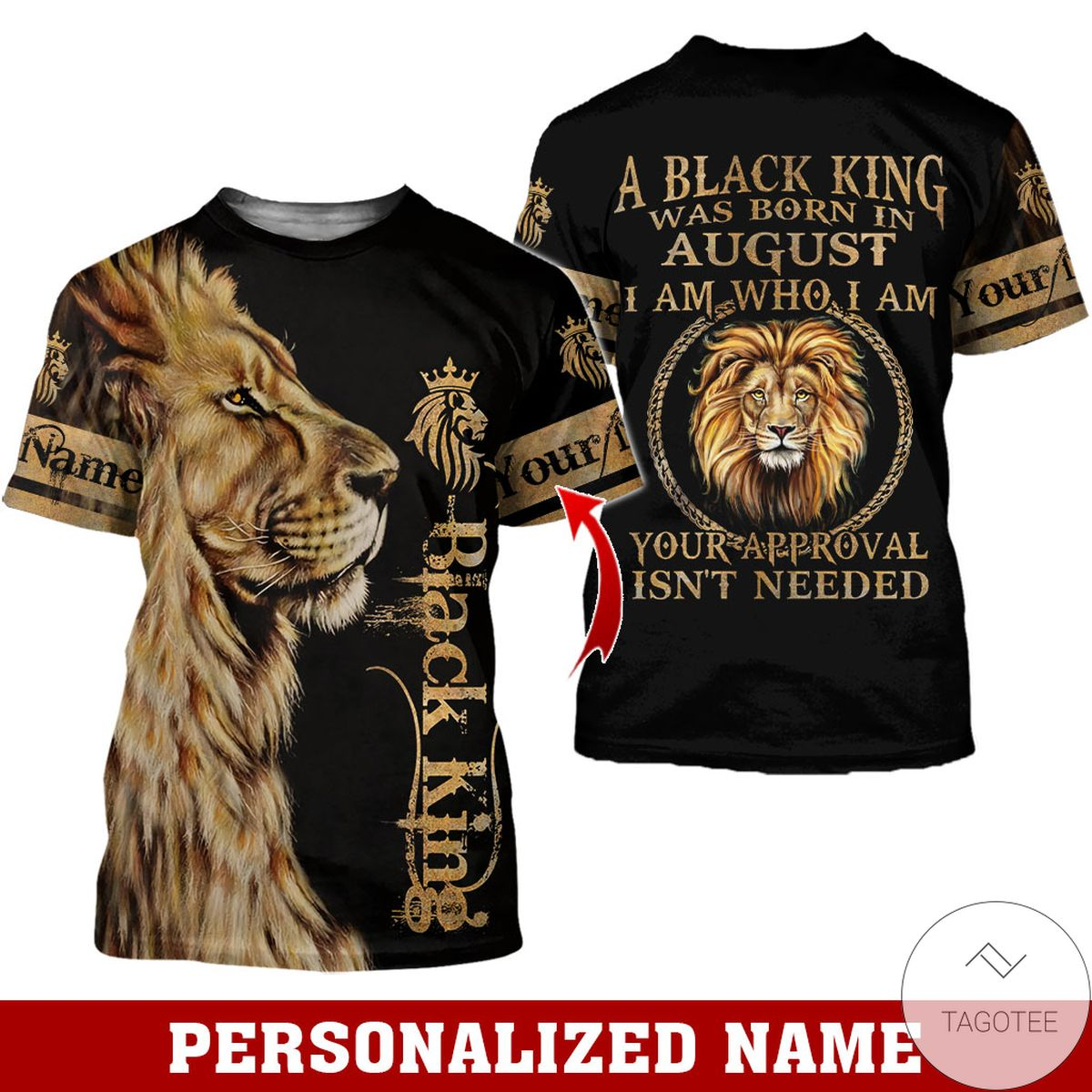 Adult Personalized Name Lion Black King Was Born In August All Over Print Hoodie