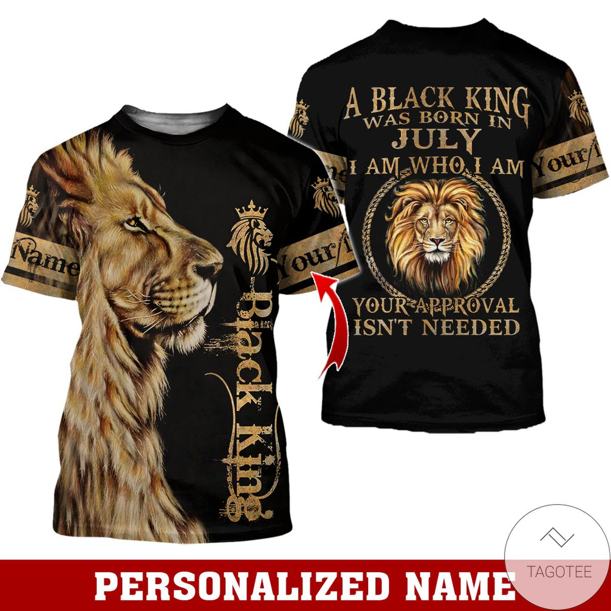 Top Rated Personalized Name Lion Black King Was Born In July All Over Print Hoodie