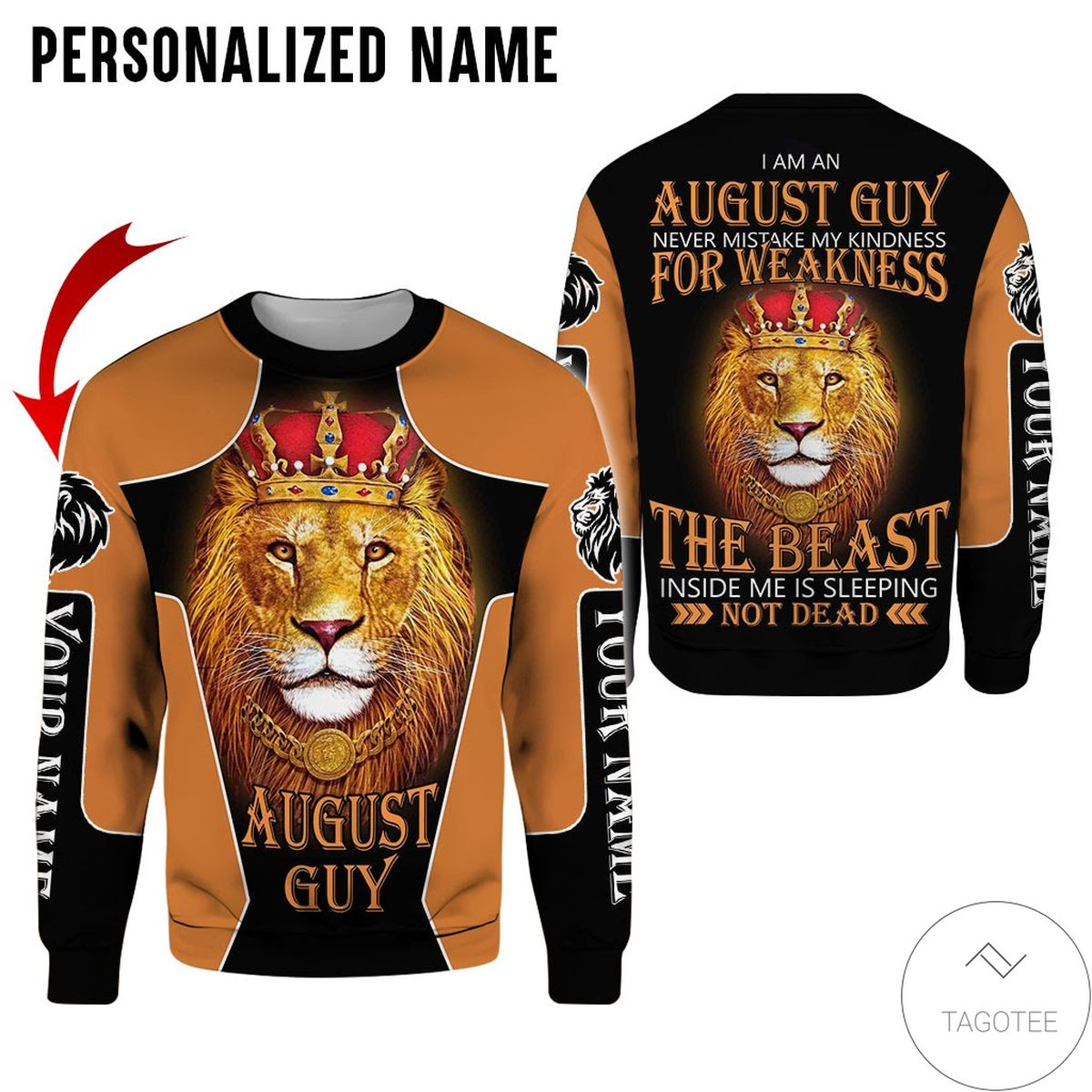 Adorable Personalized Name Lion King August Guy Never Mistake All Over Print Hoodie