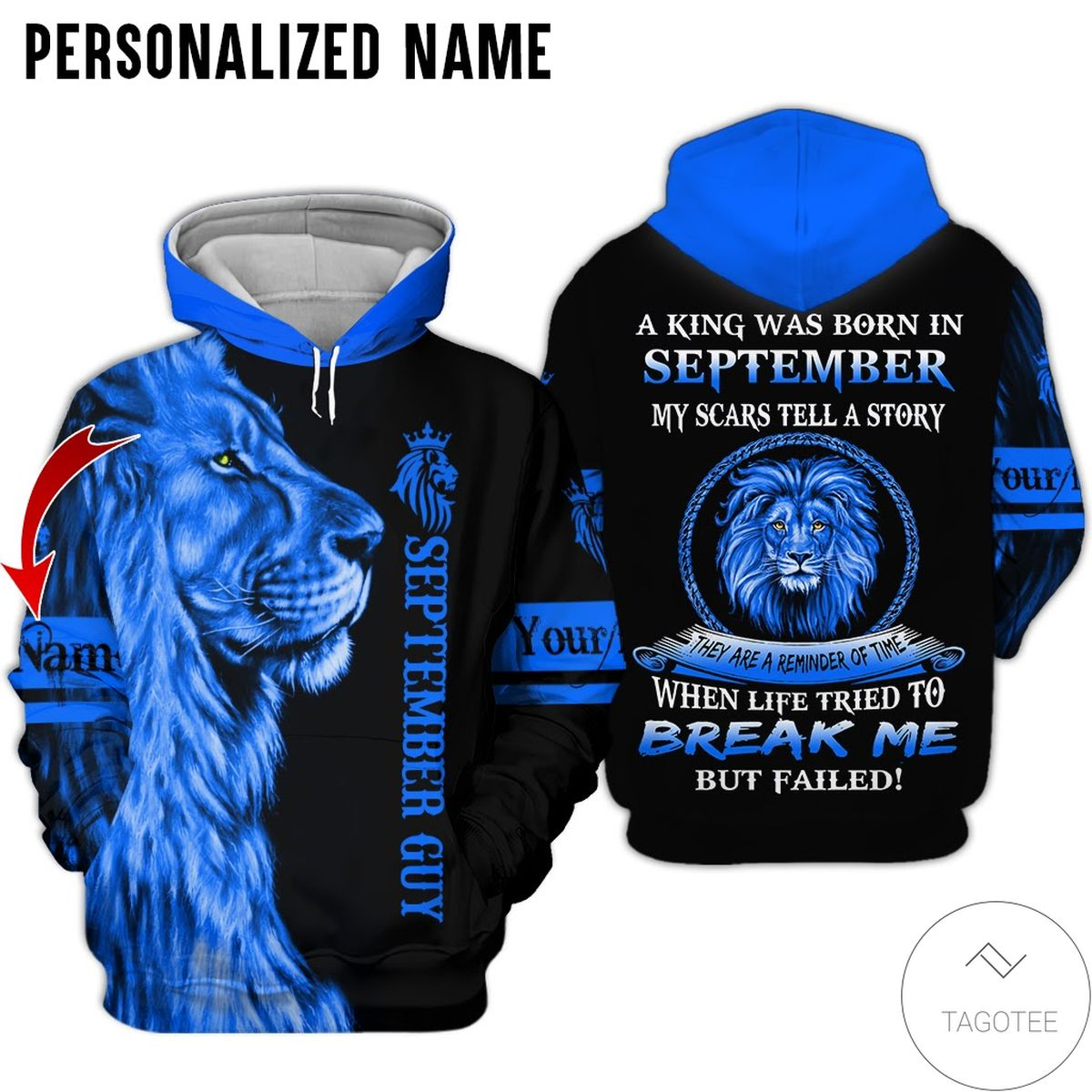 Personalized Name Lion September Guy A King Was Born All Over Print Hoodie