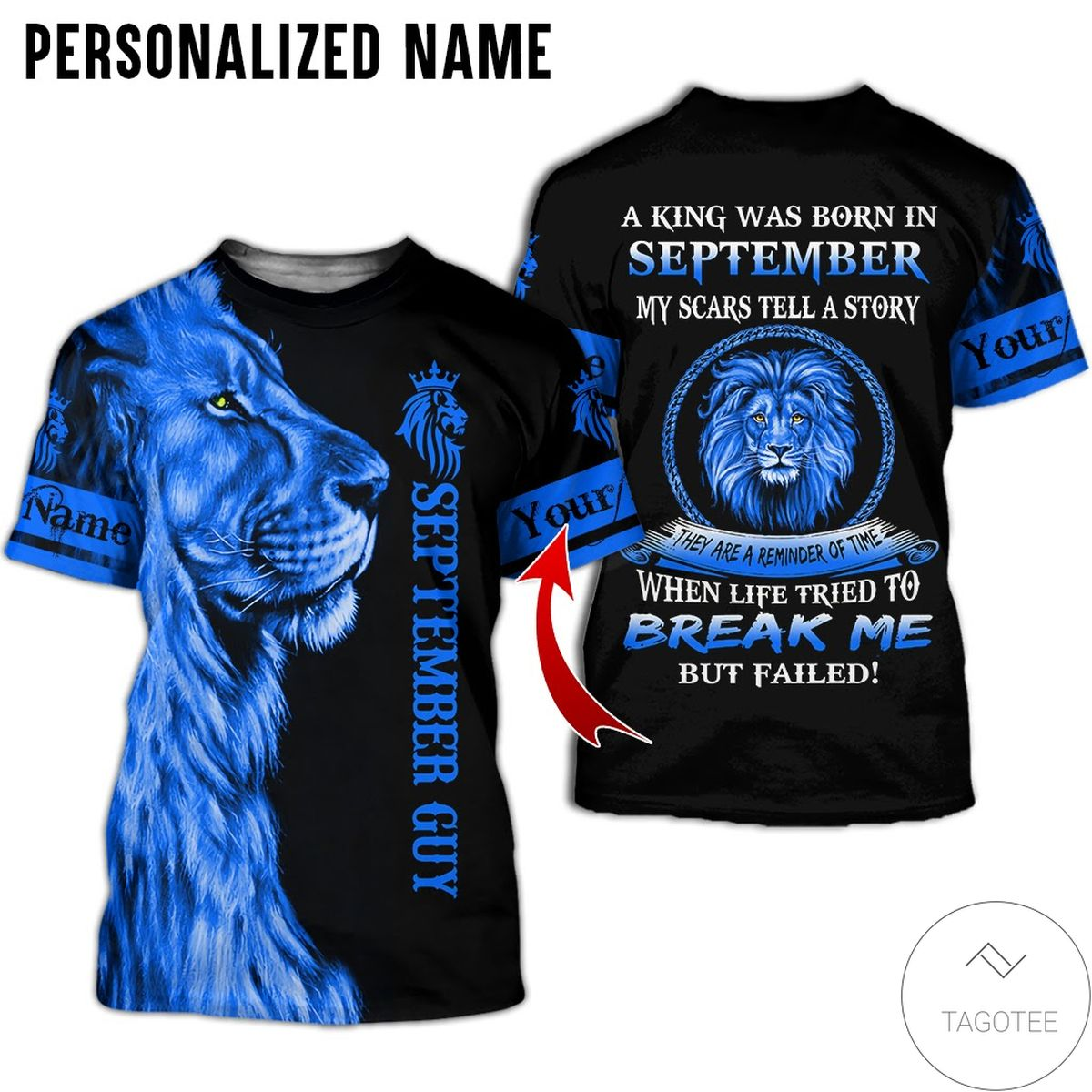 Buy In US Personalized Name Lion September Guy A King Was Born All Over Print Hoodie