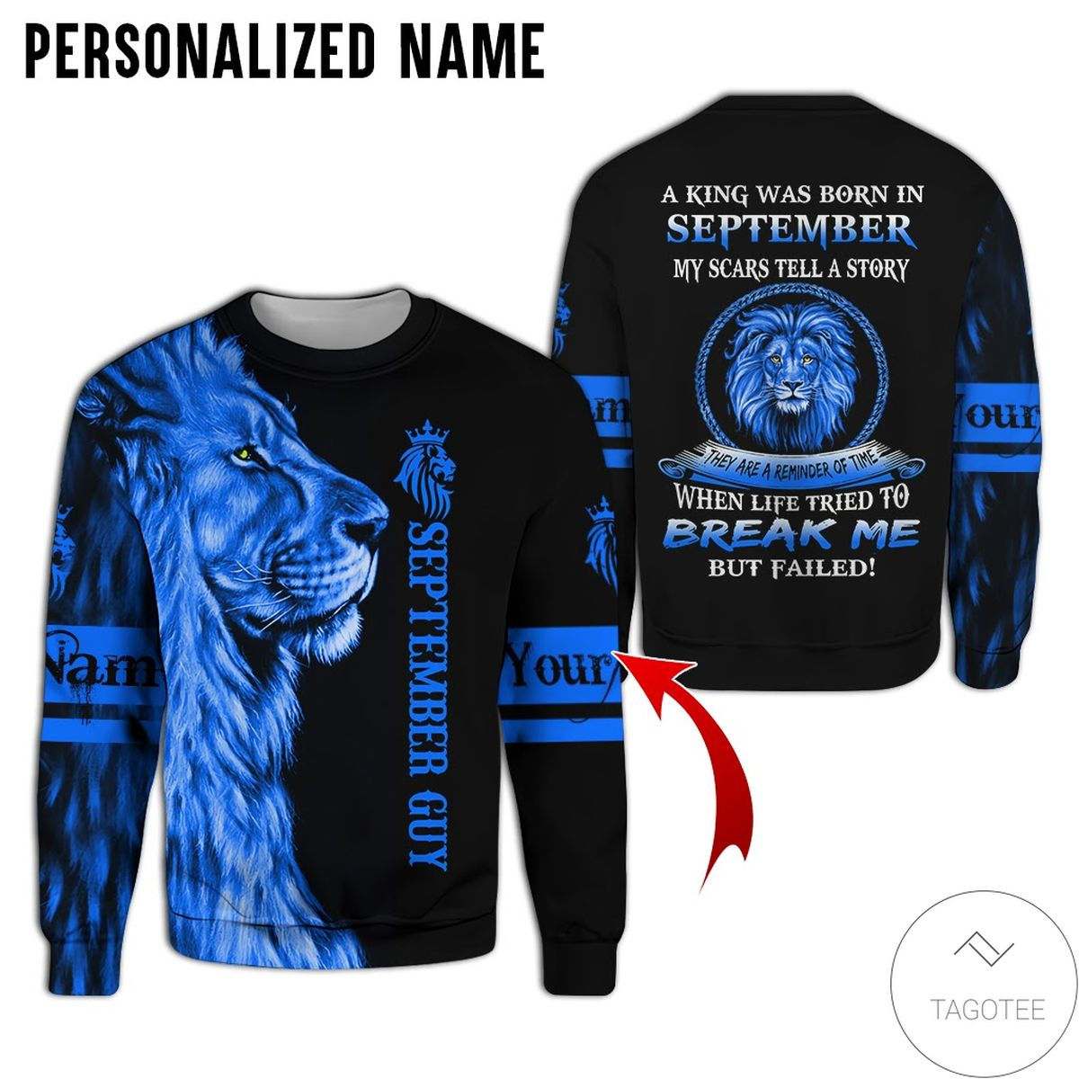 Discount Personalized Name Lion September Guy A King Was Born All Over Print Hoodie