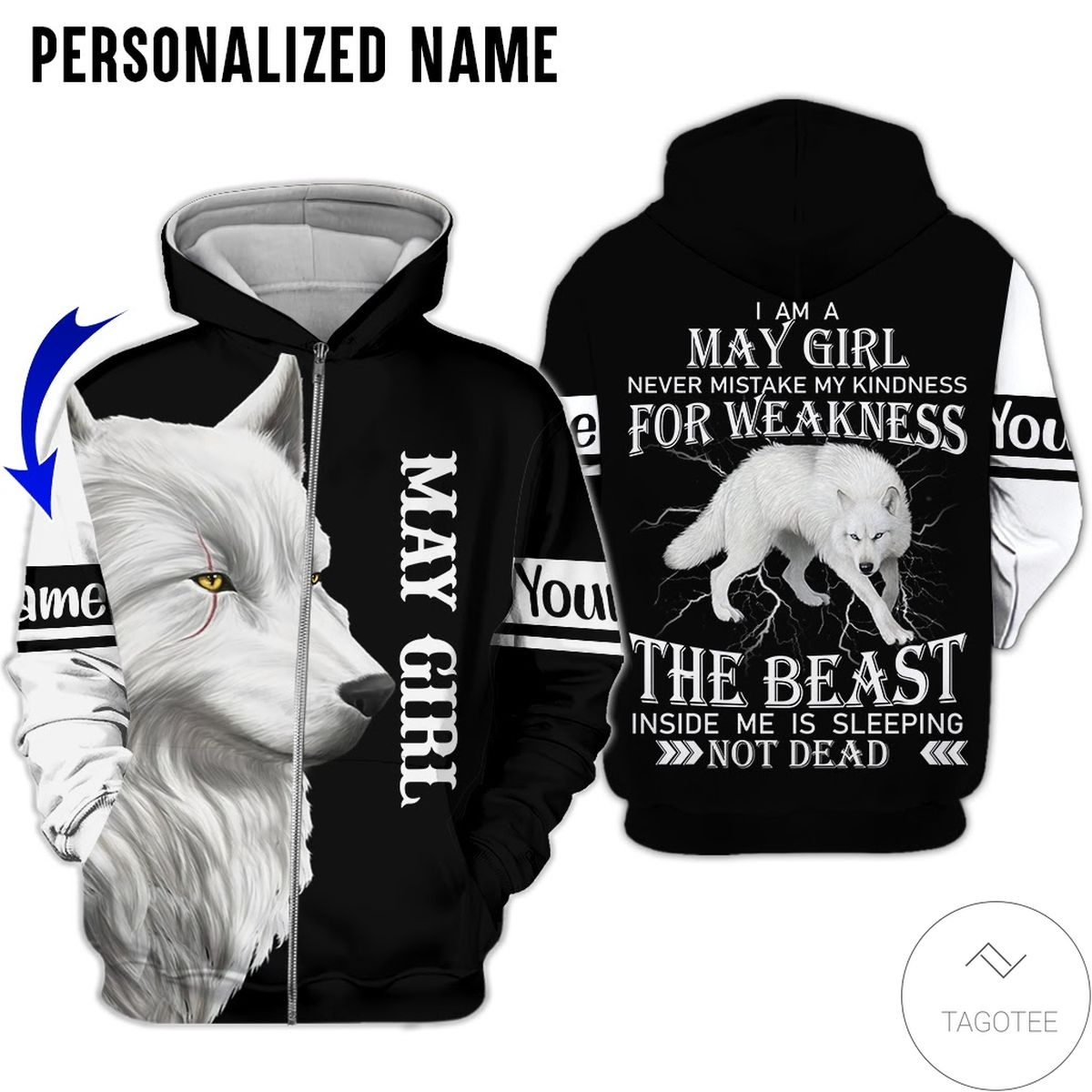 Print On Demand Personalized Name May Girl White Wolf The Beast Not Dead All Over Print Hoodie