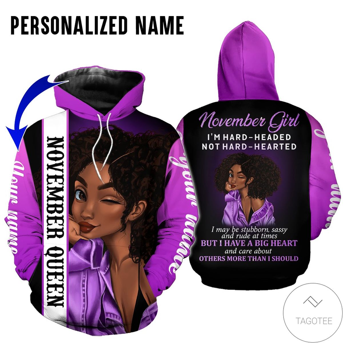 Real Personalized Name November Girl Hard Headed Not Hard Hearted All Over Print Hoodie