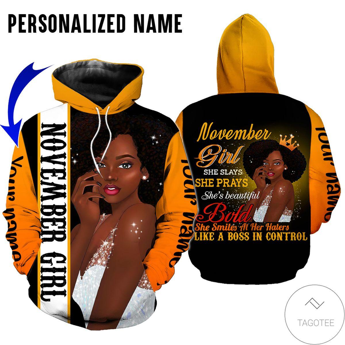 Awesome Personalized Name November Girl She Slay She Pray She Beautiful All Over Print Hoodie