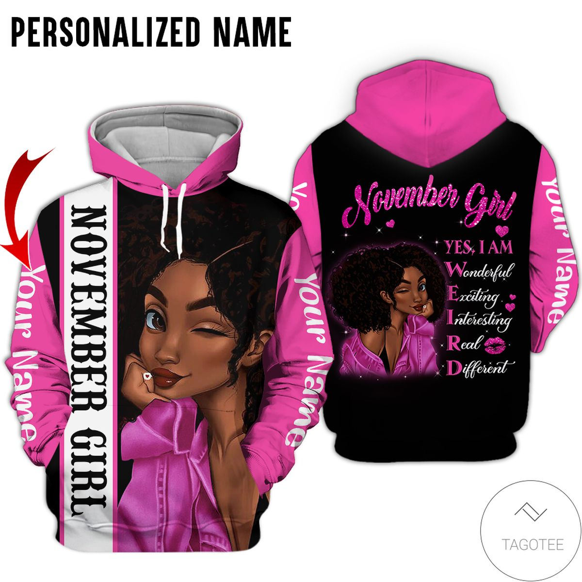 Unisex Personalized Name November Girl Yes I Am All Over Print Hoodie