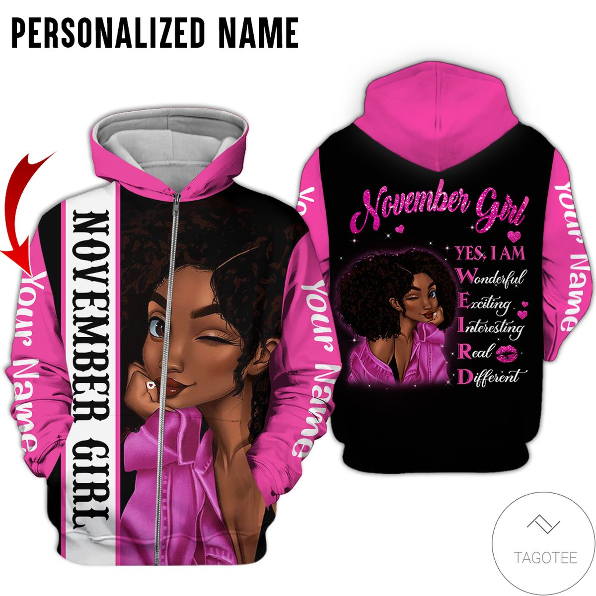 eBay Personalized Name November Girl Yes I Am All Over Print Hoodie