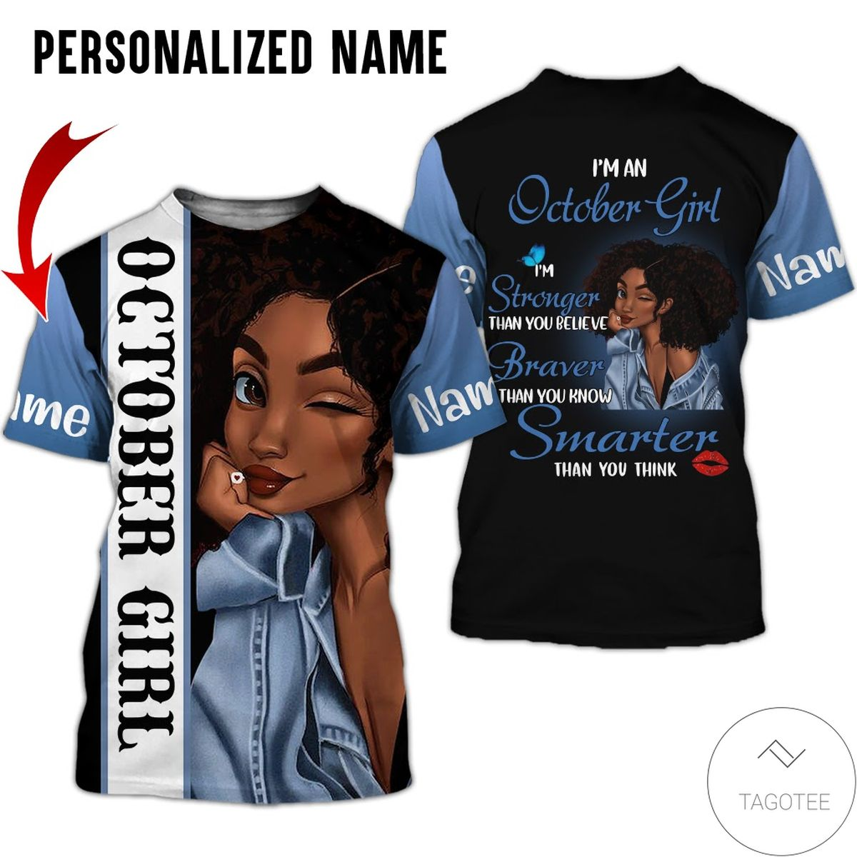 Personalized Name October Girl I'm Stronger Than You Believe All Over Print Hoodiec