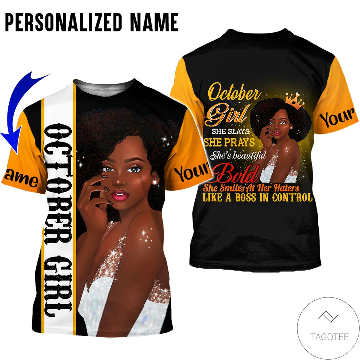 Luxury Personalized Name October Girl She Slays She Prays She Beautiful All Over Print Hoodie