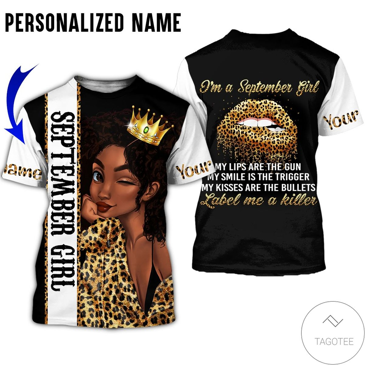 Personalized Name September Girl My Lips Are Gun All Over Print Hoodie