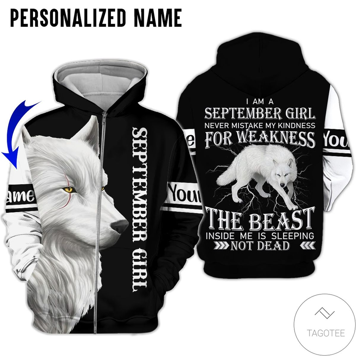 Amazon Personalized Name September Girl Never Mistake My Kindness White Wolf All Over Print Hoodie