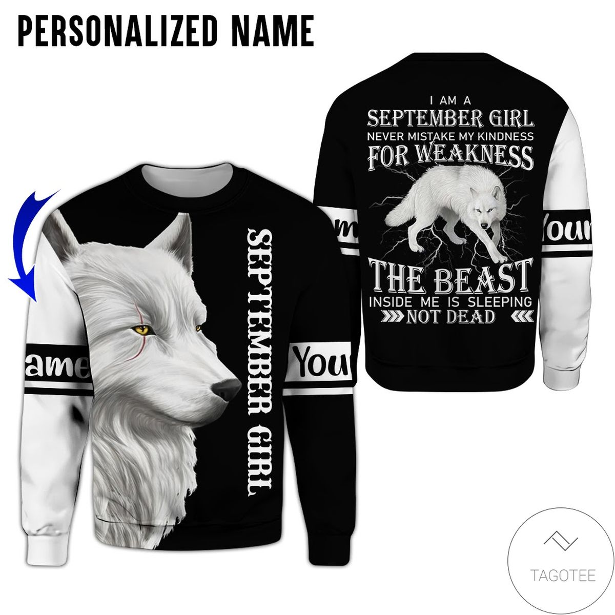 Top Rated Personalized Name September Girl Never Mistake My Kindness White Wolf All Over Print Hoodie