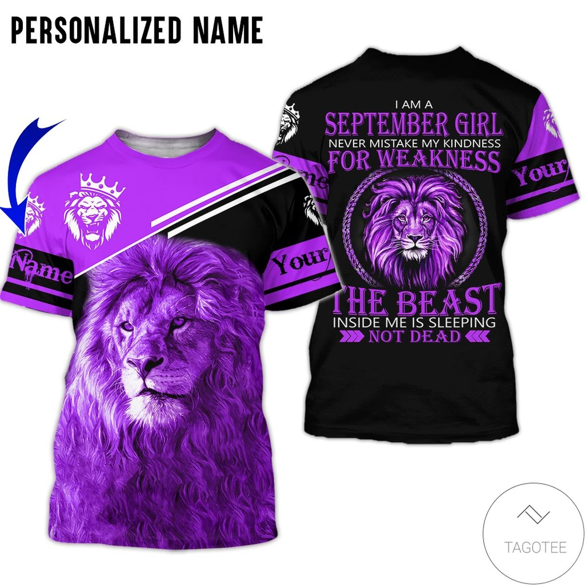 Personalized Name September Girl The Beast Inside Me Is Sleeping Lion All Over Print Hoodie