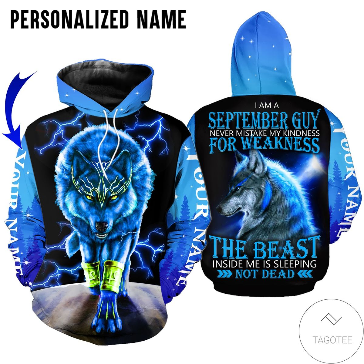 Amazon Personalized Name September Guy Wolf The Beast Not Dead All Over Print Hoodie