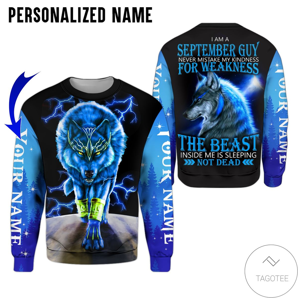 Limited Edition Personalized Name September Guy Wolf The Beast Not Dead All Over Print Hoodie