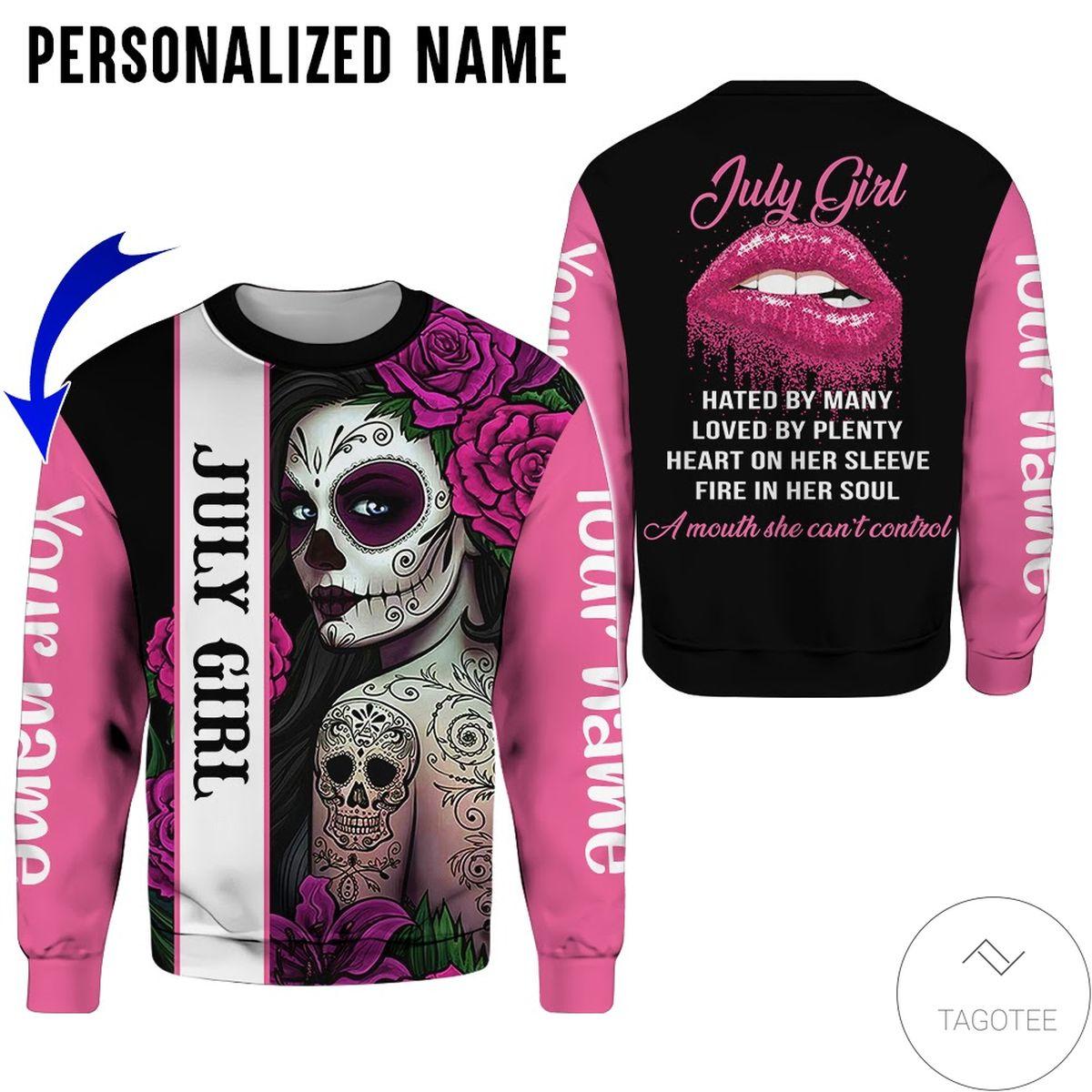 Handmade Personalized Name Skull Tattooist July Girl All Over Print Hoodie