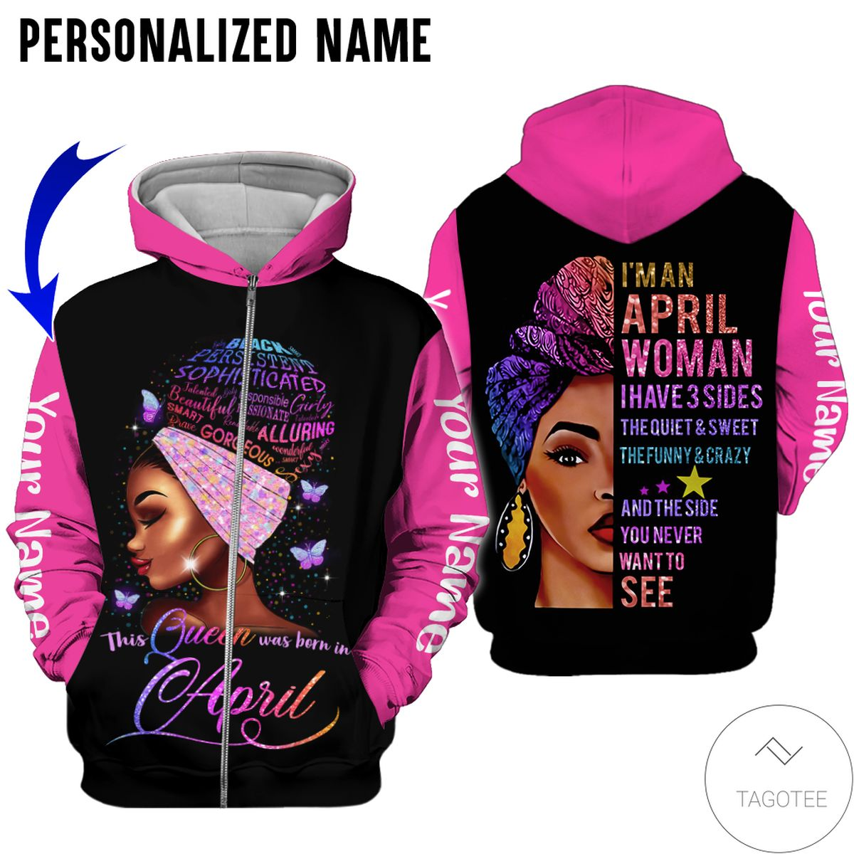 Popular Personalized Name This Queen Was Born In April All Over Print Hoodie