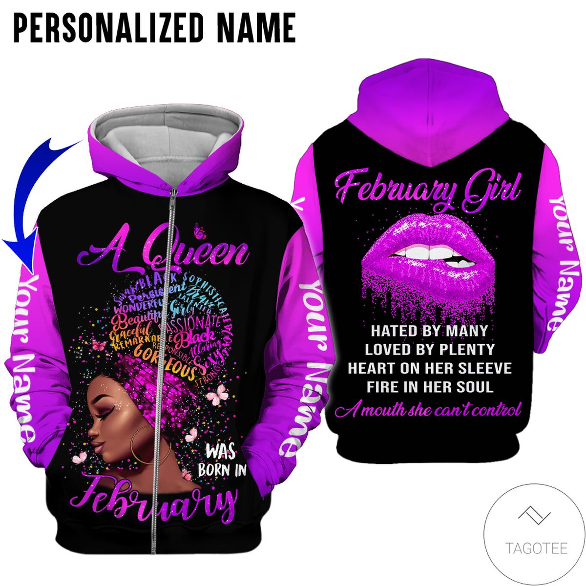 Free Personalized Name This Queen Was Born In February Purple All Over Print Hoodie