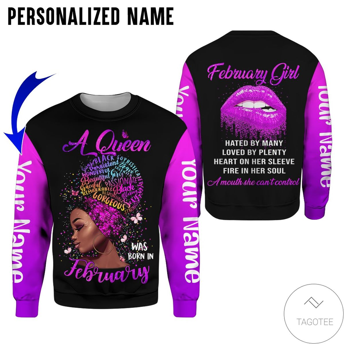 Unisex Personalized Name This Queen Was Born In February Purple All Over Print Hoodie