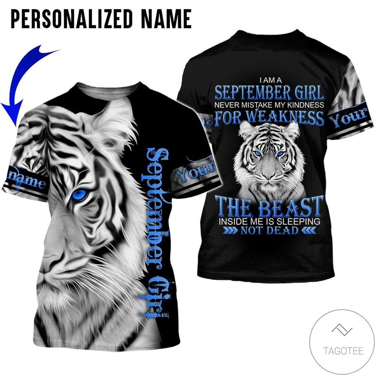 3D Personalized Name Tiger September Girl The Beast Not Dead All Over Print Hoodie