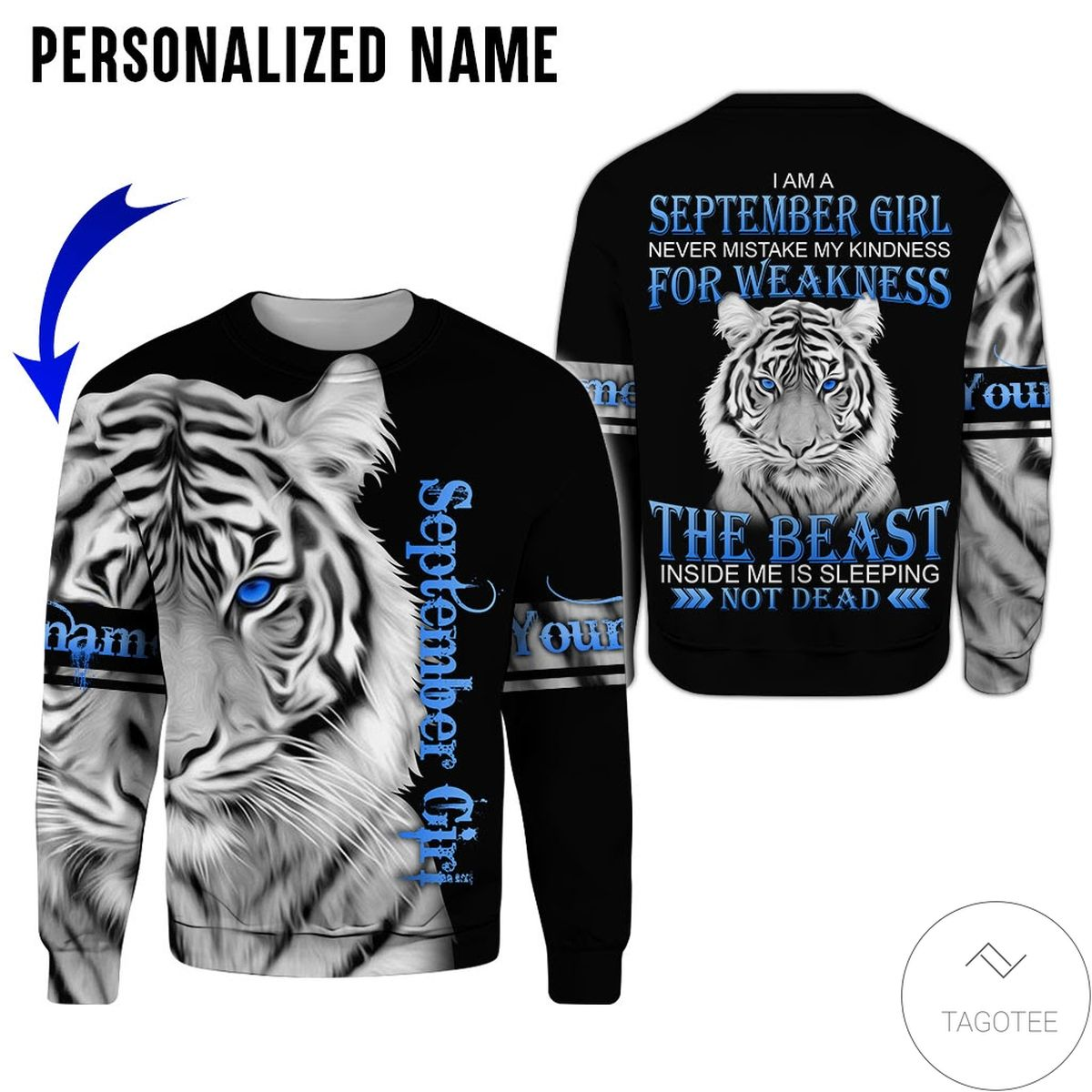 Adorable Personalized Name Tiger September Girl The Beast Not Dead All Over Print Hoodie