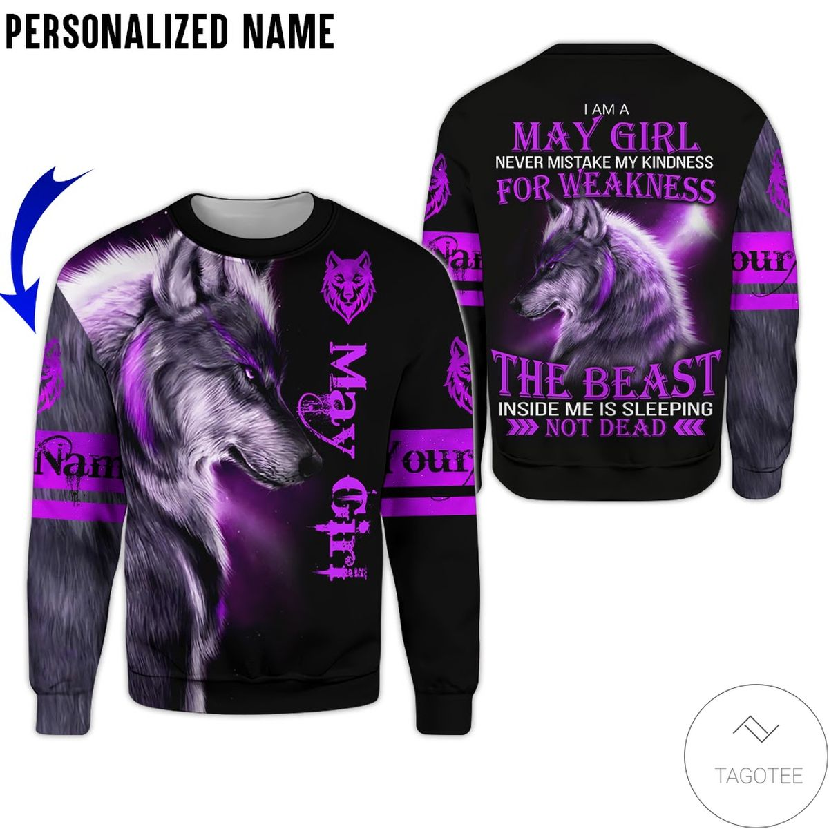 Top Selling Personalized Name Wolf I'm A May Never Mistake Girl All Over Print Hoodie