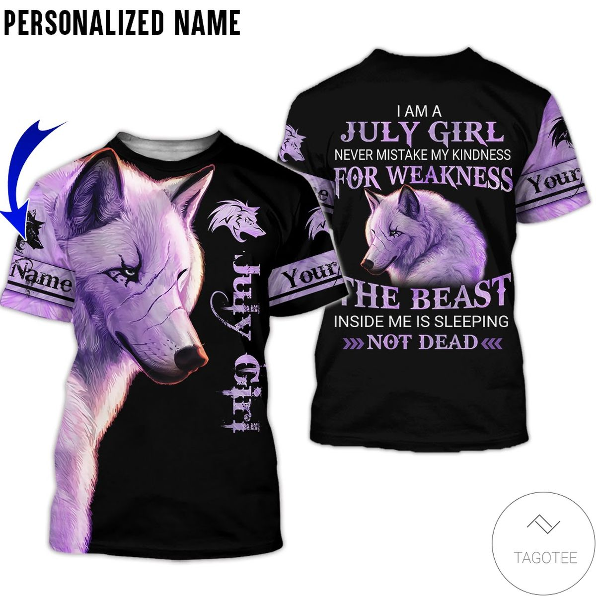 Personalized Name Wolf July Girl The Beast Not Dead All Over Print Hoodie