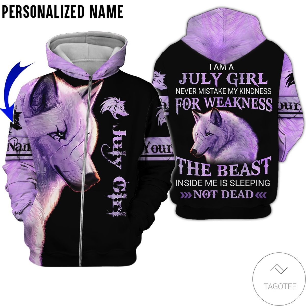 Personalized Name Wolf July Girl The Beast Not Dead All Over Print Hoodiec