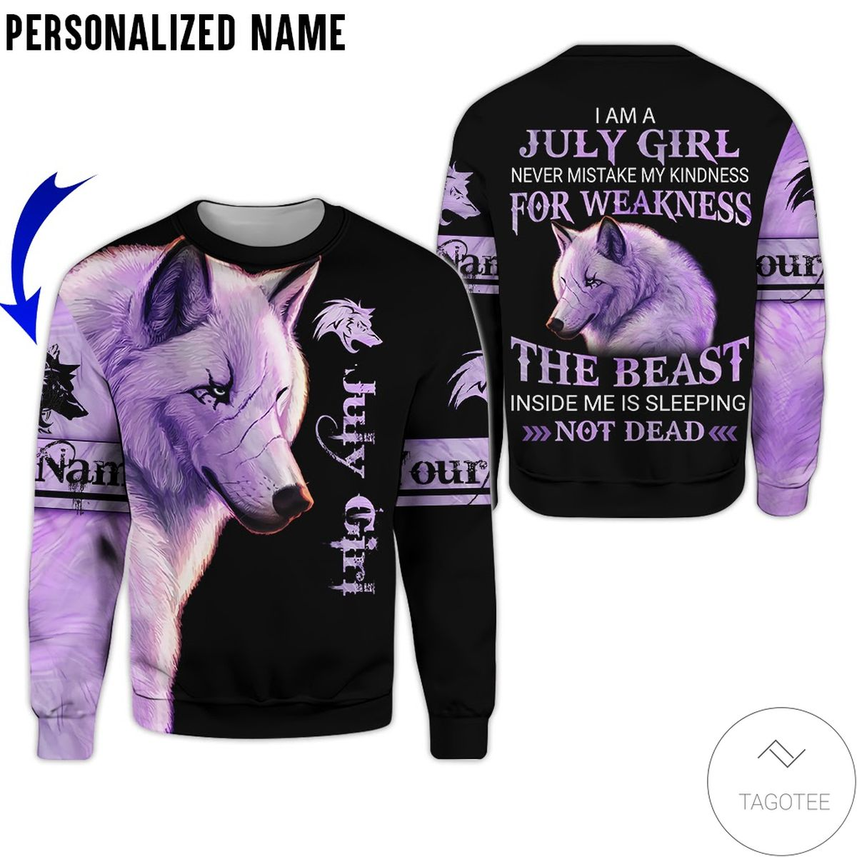Nice Personalized Name Wolf July Girl The Beast Not Dead All Over Print Hoodie
