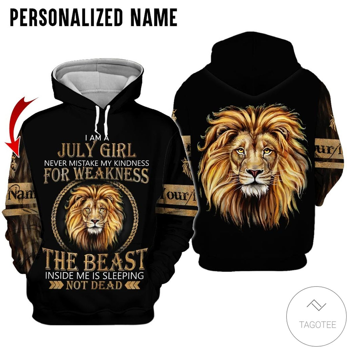 Unique Personalized Namelion I'm July Girl All Over Print Hoodie