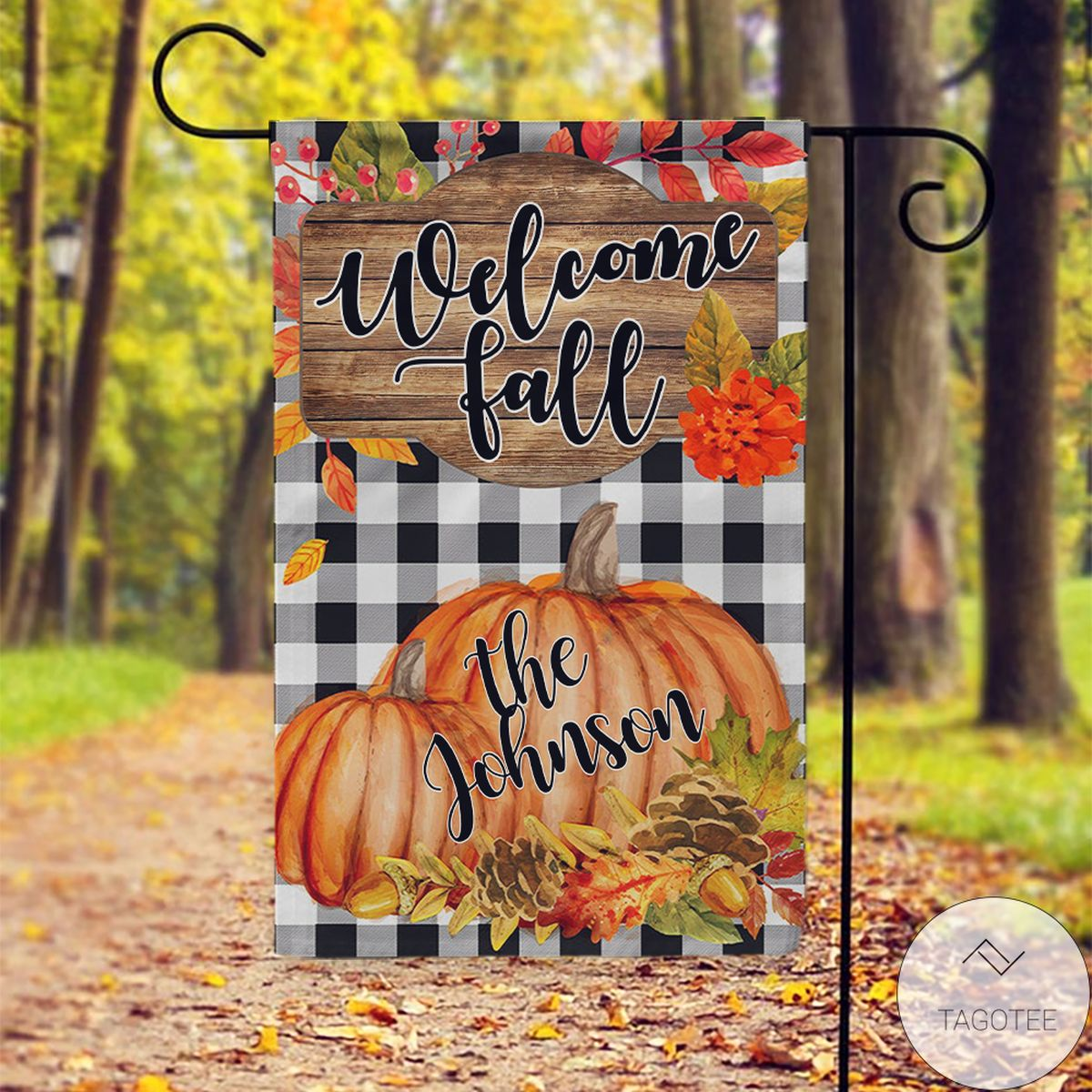 Real Personalized Pumpkin Welcome Fall Flag