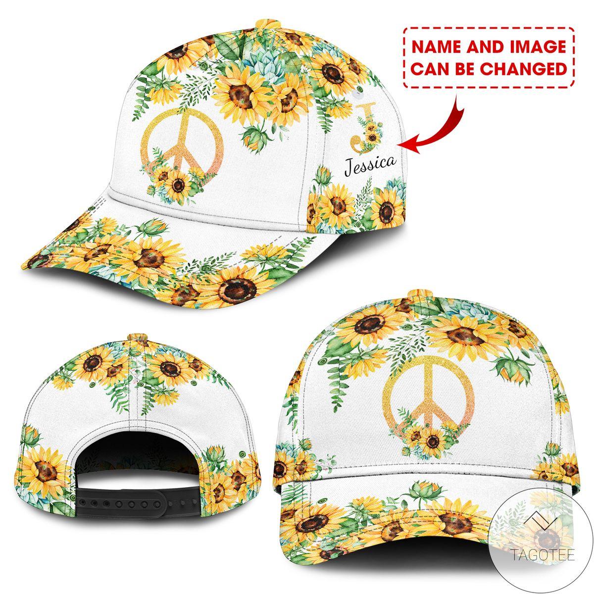 Handmade Personalized Sunflower Hippie Classic Cap