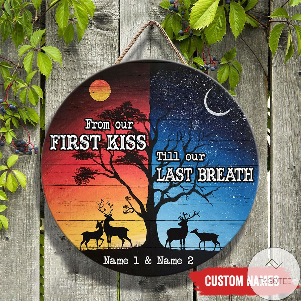 Personalized Till Last Breath Day And Night Deer Couple Round Wood Sign